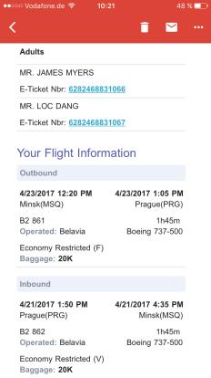 Flight Itinerary - Goodbye,Hello